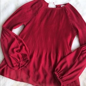 A NEW DAY Long Sleeve  Pleated Blouse Top SMALL